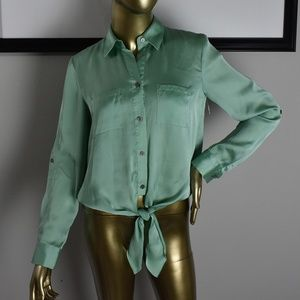 VINCE CAMUTO Mint Green Button Down Blouse XS SEXY
